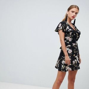 Asos Floral Ruffle Tea Dress